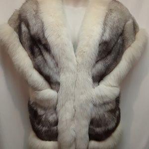 Blue/ White Fox Fur Unique Vest Jacket VTG Sz Med